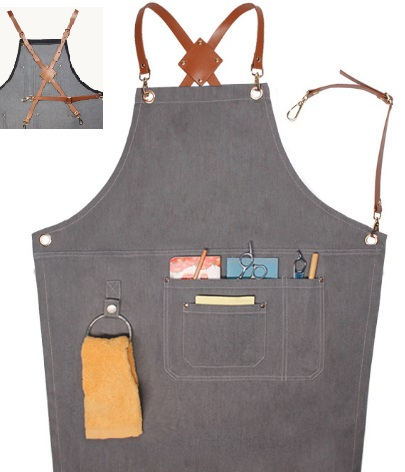 BBQ gardening denim apron with leather strap china supplier wholesale