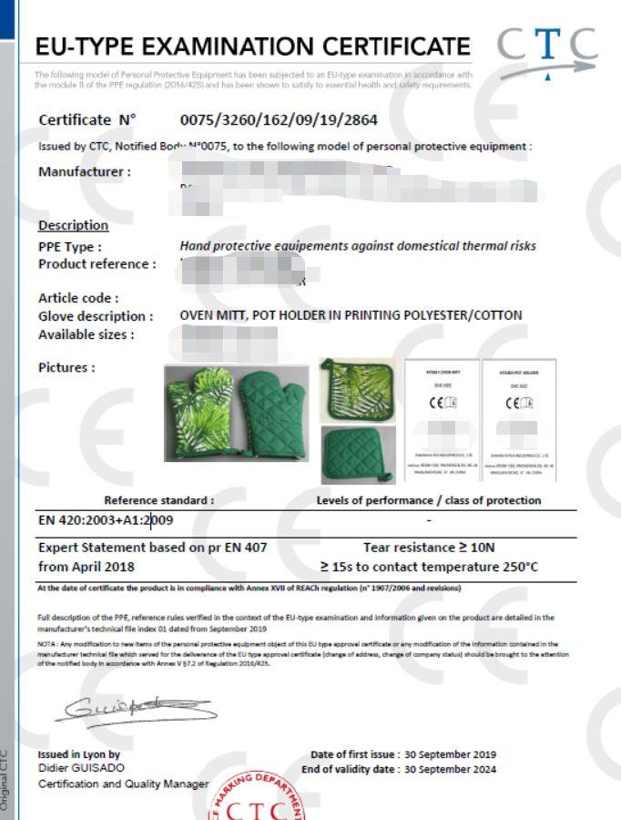 ce certificate china oven mitt manufacturer